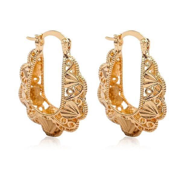 fashion earrings vintage pattern hollow woven earrings English letter U-shaped earrings NHCU196722