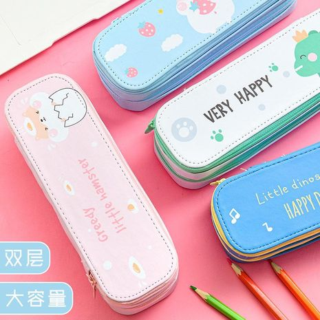 Double large capacity stationery box cute solid color pencil case with zipper storage box wholesale NHHE196726's discount tags