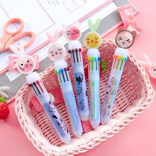 Creative cartoon ten-color ball-point pen girl heart color multi-function push oil pen candy color cute student stationery NHHE196727's discount tags