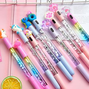 Cartoon into the oil quicksand gel pen creative light fairy fairy pen magic girl water pen student stationery NHHE196732's discount tags