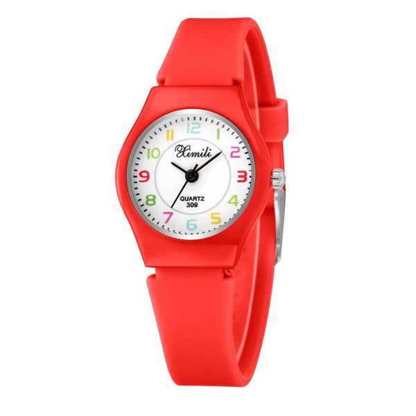 New Silicone Children's Watch Cute Fine Silicone Strap Digital Face Quartz Watch Student Casual Watch NHSY196746