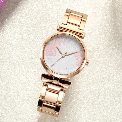 Stylish simple quartz steel band watch with sweet leaf pattern decoration watch NHSY196752's discount tags