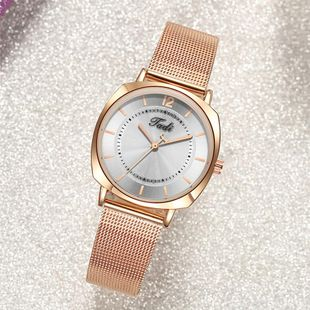 Fashionable Simple Dices Quartz Mesh Band Watch Korean Trend Alloy Rose Gold Band Women's Watch NHSY196758's discount tags