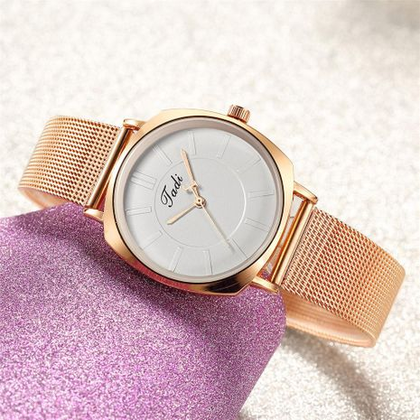 Fashion Simple Scale Quartz Mesh Band Watch Trend Rose Gold Band Women's Watch Korean Alloy Watch NHSY196762's discount tags