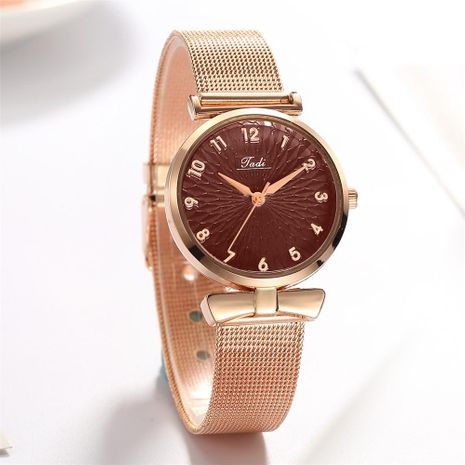 Fashion Simple Ladies Mesh Watch Trend Rose Gold Digital Quartz Bracelet Women's Watch NHSY196764's discount tags