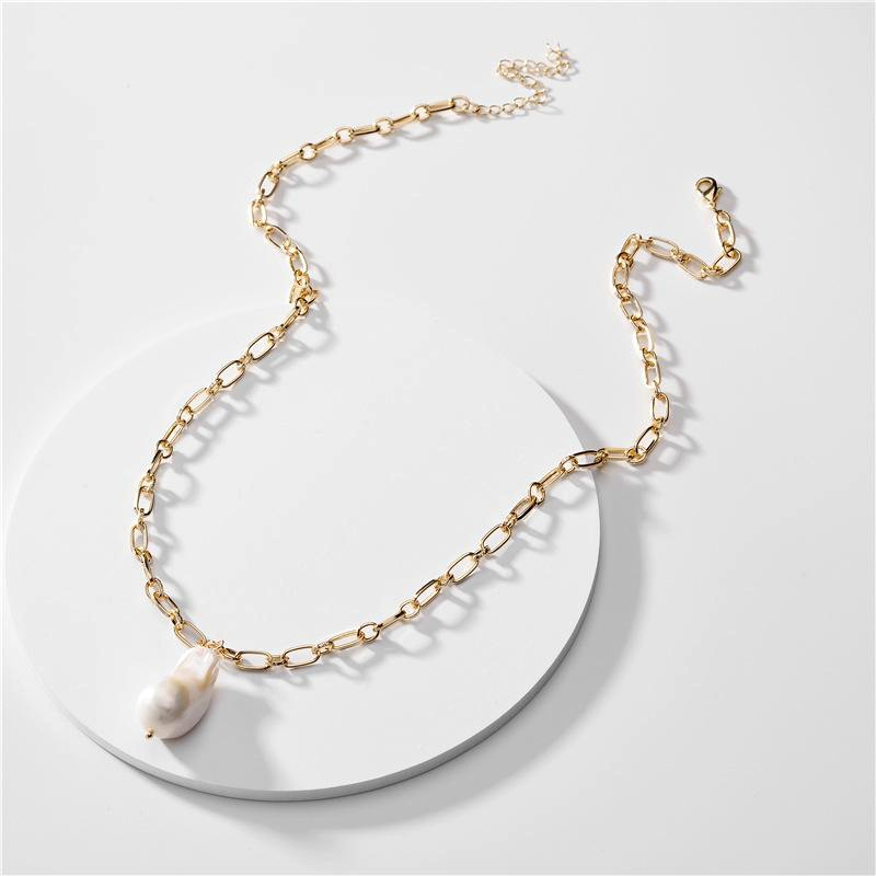 Fashion Jewelry Natural Shell Pearl Pendant Lady Sweater Necklace New NHLU196776
