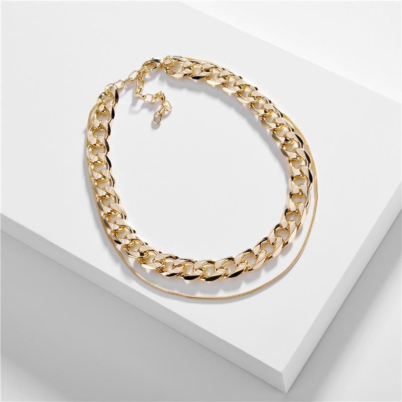 Fashion jewelry snake chain double chain single buckle new necklace NHLU196779