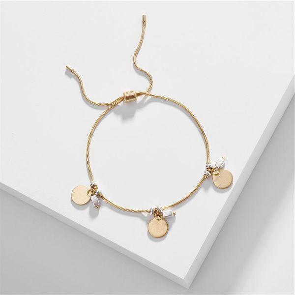 Jewelry Wholesale Copper Snake Chain Double Color Pendant Length Pull Adjustable Bracelet New NHLU196780