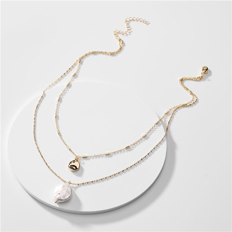 Fashion jewelry natural shell pearl pendant bean chain double long necklace NHLU196783