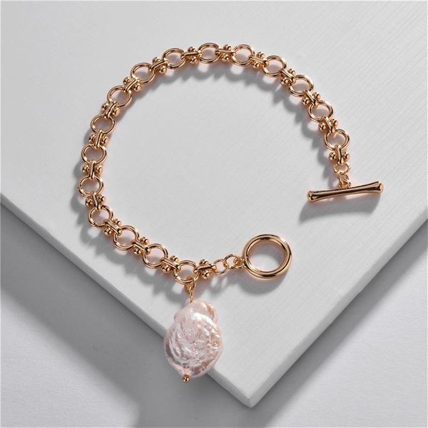 Jewelry wholesale copper chain bracelet natural shell shaped pearl pendant bracelet NHLU196785