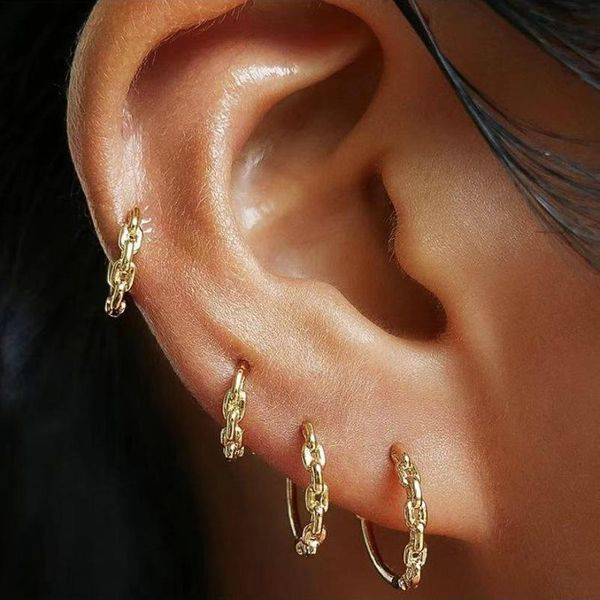 Jewelry earrings copper chain hollow 925 silver earrings women's earrings NHLU196791