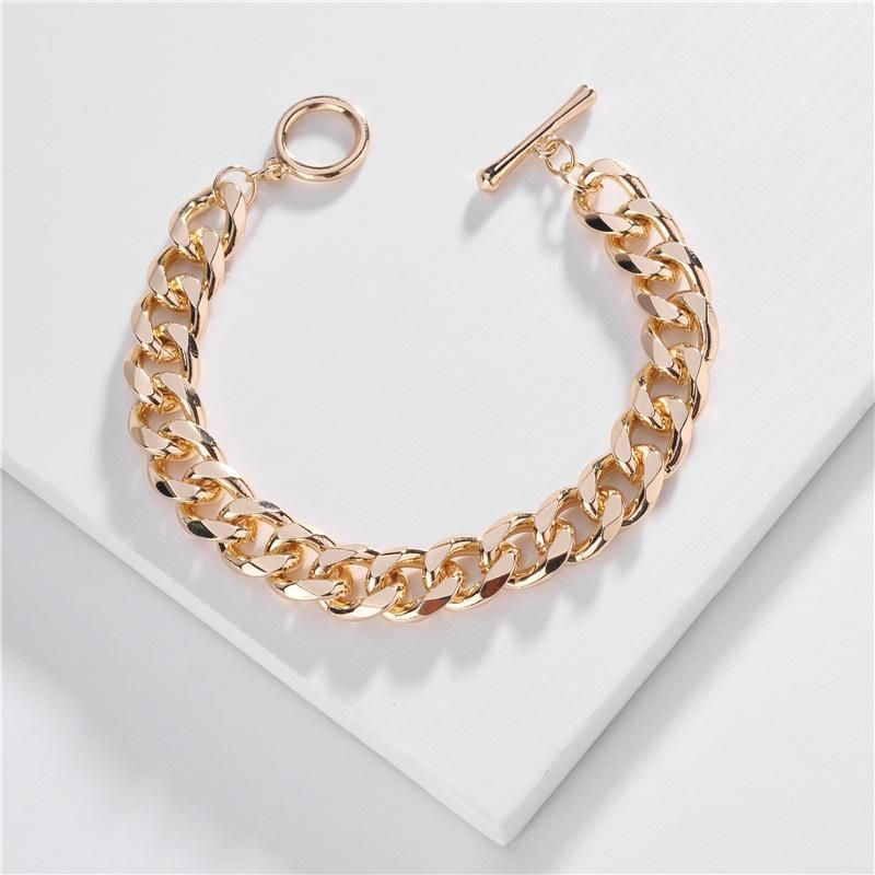 Jewelry wholesale chain bracelet single buckle flat pressed chain multilayer bracelet NHLU196792