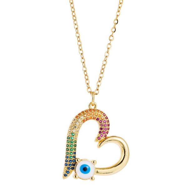 Fashion Necklace Simple Turkey Blue Eyes Heart Shaped Copper Inlaid Zircon Clavicle Chain Accessories NHLN196793
