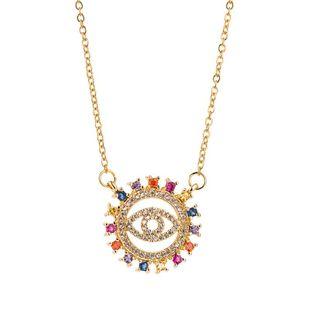 Nuevos accesorios Hollow Devil's Eyes Collar de Hip Hop con micro incrustaciones de oro de 18 quilates chapado en cobre para mujer NHLN196794's discount tags