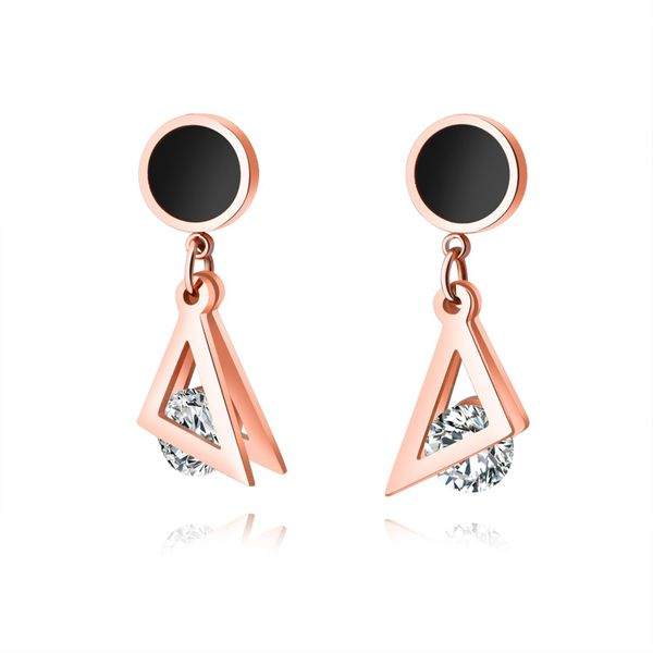 Korean simple triangle round diamond titanium steel earrings rose gold ladies geometric earrings NHOPK196796