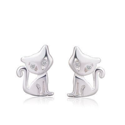 Korean S925 white fungus earrings female cute cat earrings animal fox earrings NHCU196812's discount tags
