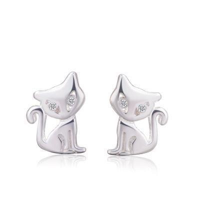 Korean S925 white fungus earrings female cute cat earrings animal fox earrings NHCU196812