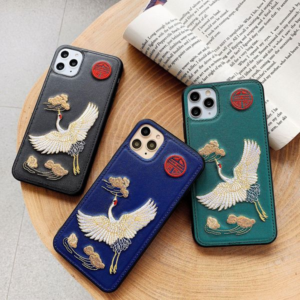 iPhone 11promax mobile phone case 8plus imitation leather embroidery XR fairy crane 6splus phone case NHHC196832