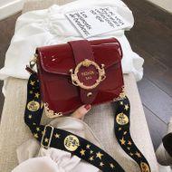 Korean fashion patent leather shiny belt buckle shoulder bag women's simple frosted wide shoulder messenger bag NHPB196887