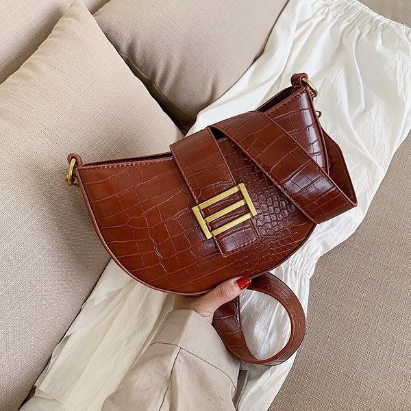 Retro crocodile pattern saddle bag Korean fashion casual wide shoulder lock single shoulder messenger bag NHPB196907