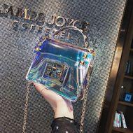 Laser transparent bag women's new portable chain small square bag rivet shoulder shoulder bag NHPB196909
