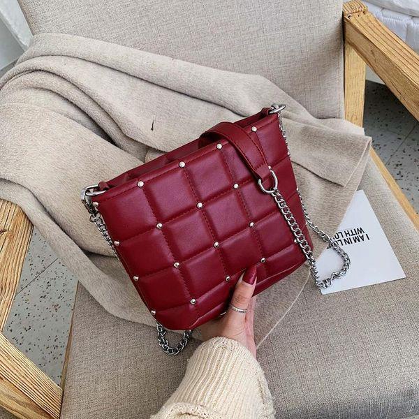 New fashion chain cross-body bag simple wild rhombus embroidery pearl shoulder bucket bag NHPB196911