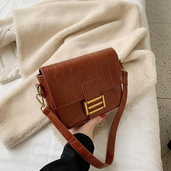 New fashion crocodile pattern woven portable small square bag female simple wild shoulder crossbody bag NHPB196912