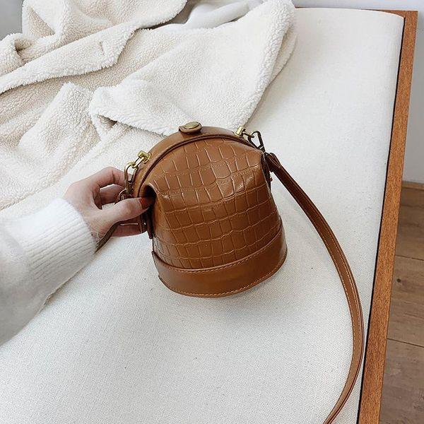 Retro fashion crocodile pattern mini bucket bag new simple wild shoulder crossbody bag NHPB196916