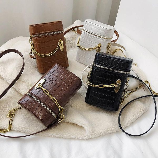 New Fashion Chain Shoulder Messenger Bag Women's Simple Wild Crocodile Mini Bucket Bag NHPB196917