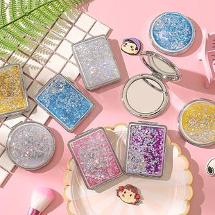 Quicksand makeup mirror student mini mirror female cute clamshell double-sided folding small round mirror NHZE196925's discount tags