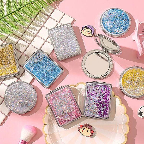 Quicksand maquillaje espejo mini espejo de estudiante hembra lindo clamshell doble cara plegable pequeño espejo redondo NHZE196925