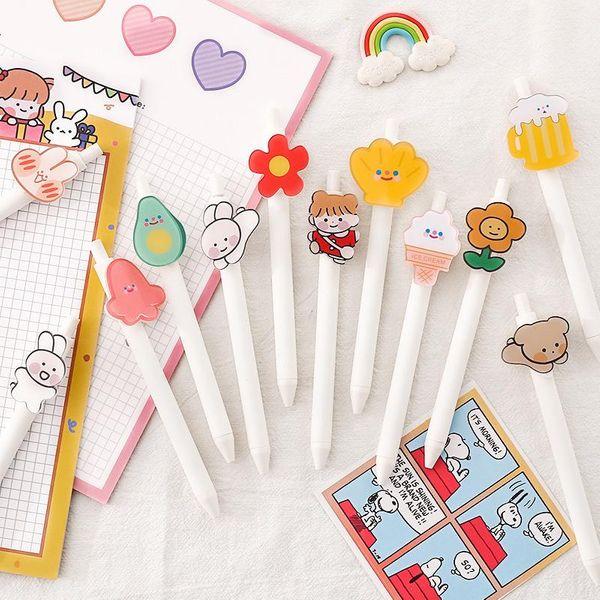 Girl's Heart versión coreana del bolígrafo de gel lindo y creativo push-on super lindo bolígrafo de gran capacidad para estudiantes NHZE196926