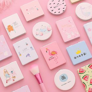 Girl heart small mirror portable makeup mirror trumpet cute portable folding dormitory student holding double-sided mirror NHZE196929's discount tags