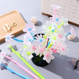 Cute Korean Gel Pen Girl Heart Discoloration Soft Silicone Flower Student Black Needle Pen Creative Stationery NHZE196935's discount tags