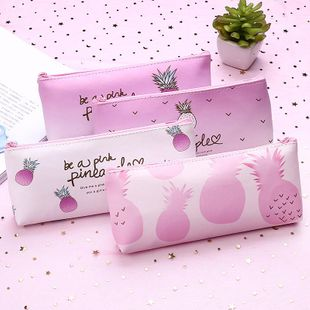 Korean pink girl heart pencil case large capacity female student pencil bag zipper stationery storage bag NHZE196942's discount tags