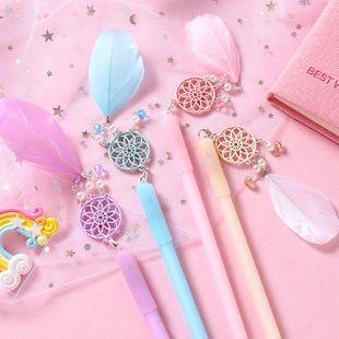 Girly Heart Korea Cute Creative Pendant Gel Pen Feather Pen NHZE196944's discount tags