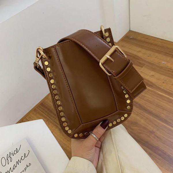 New large capacity rivet bucket bag fashion texture wild wide shoulder single shoulder messenger bag NHPB196945