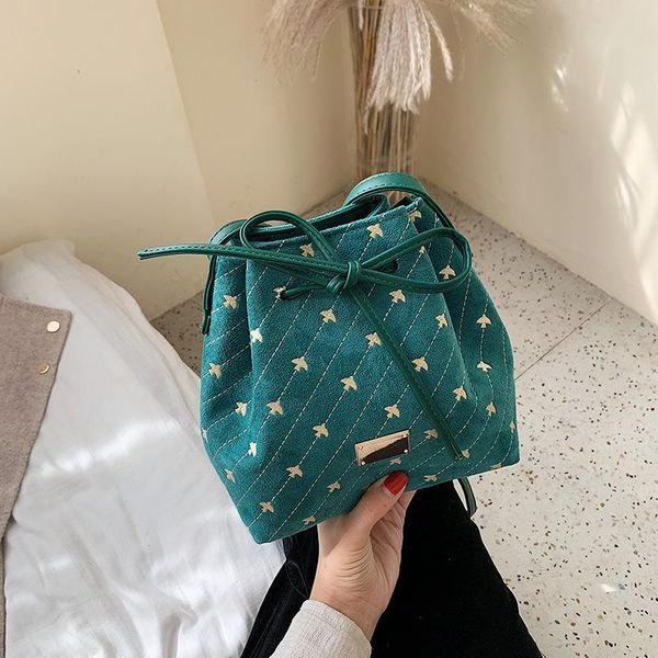 New retro frosted drawstring bucket bag female casual messenger bag simple wild embroidered shoulder bag NHPB196947