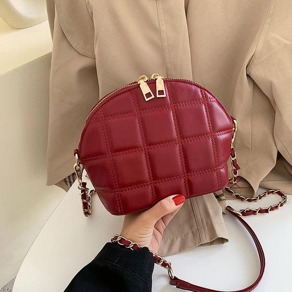 Korean simple wild tassel diamond chain shell bag fashion solid color shoulder Messenger bag women NHPB196948
