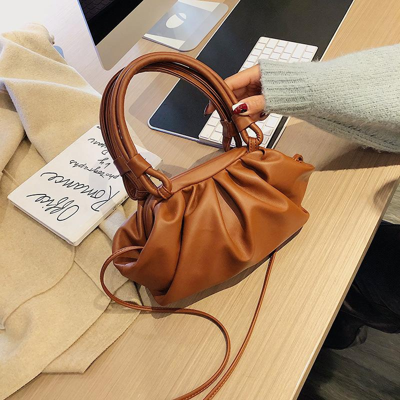 New Simple Pure Color Cloud Bag Women Fashion Foldable Handbag NHPB196954