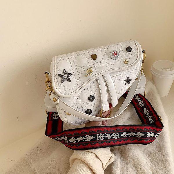New retro fashion wide shoulder strap crossbody saddle bag female simple wild medal shoulder bag NHPB196963