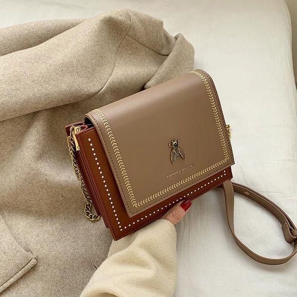 New fashion embroidered bee shoulder small square bag retro wild rivet chain Messenger bag women NHPB196965
