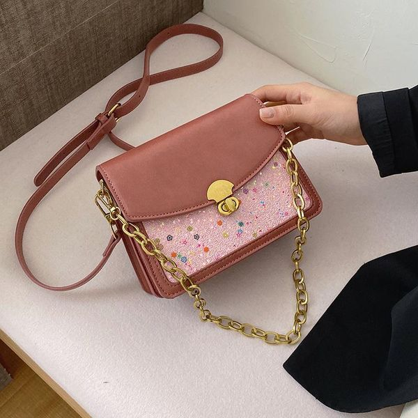 New foreign fashion sequin chain handbag simple wild lock single shoulder diagonal small square bag NHPB196966