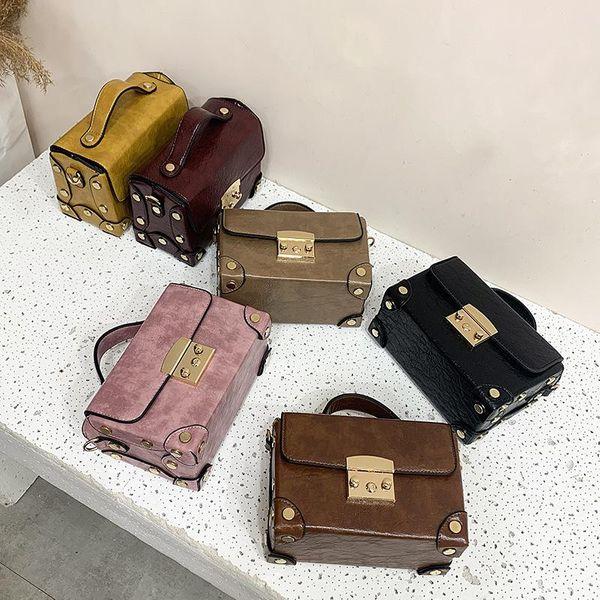 New Simple Fashion Shoulder Bag Box Retro Vintage Wild Lock Handbag NHPB196967