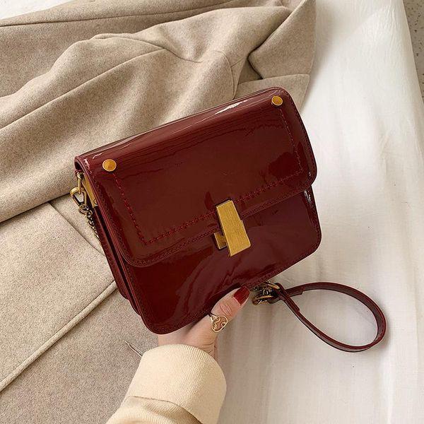 New Korean retro wild patent leather chain messenger bag fashion gold buckle shoulder small square bag NHPB196970