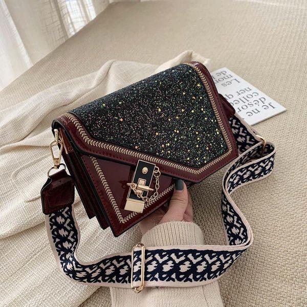 New wide shoulder shoulder bag simple fashion patent leather sequins lock messenger small square bag NHPB196972