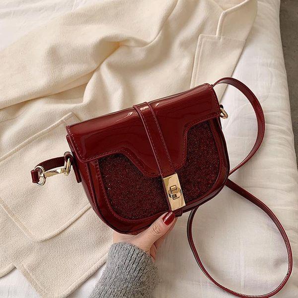 New Lock Shoulder Messenger Bag Women Fashion Texture Patent Leather Sequin Saddle Bag NHPB196973