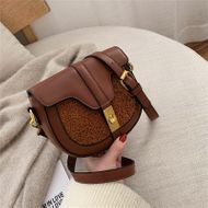 New Korean retro fashion casual saddle bag simple wild plush stitching shoulder messenger bag NHPB196977