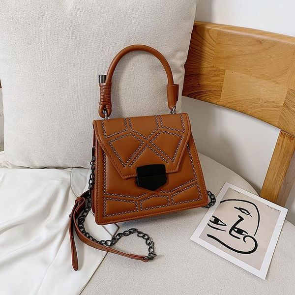 New retro fashion lock crossbody shoulder bag Korean simple wild rivet handbag NHPB196982