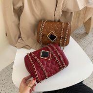 New rivet chain bag women's simple fashion rhombus lock shoulder messenger small square bag NHPB196983